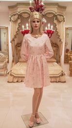 ホワイトローズ柄ピンク